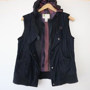 Urban Outfitters sleeveless double vest with hood